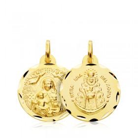 Medalla escapulario de la Virgen del Rocío y de la Virgen de la Cinta de oro de 18 quilates