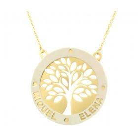 Colgante árbol de la vida con cadena en oro de primera ley