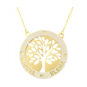 Tree of Life pendant in white and yellow gold