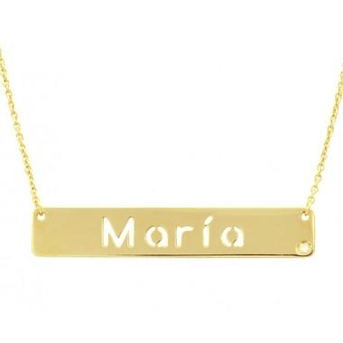 Colgante nombre con diamante y cadena en oro de primera ley