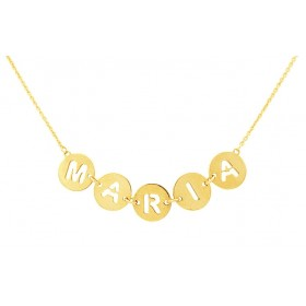 Gold round plates necklace