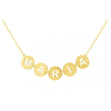 Colgante nombre de placas redondas con cadena en oro de primera ley