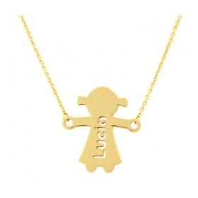 Girl silhouette gold pendant