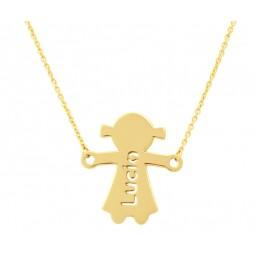 Colgante silueta niña con nombre y cadena en oro de primera ley
