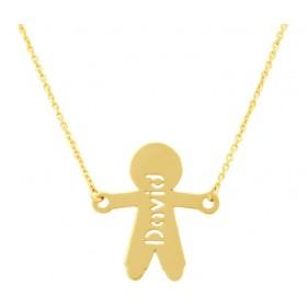 Boy silhouette gold pendant