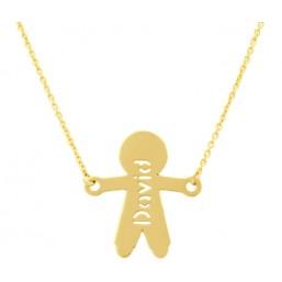 Colgante silueta niño con nombre y cadena en oro de primera ley