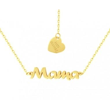 Colgante nombre y cadena en oro de primera ley
