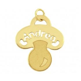 Colgante chupete con nombre personalizado en oro de primera ley