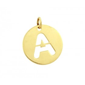 Colgante placa redonda con inicial en oro de primera ley
