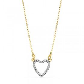 Colgante corazón con cadena en oro de primera ley