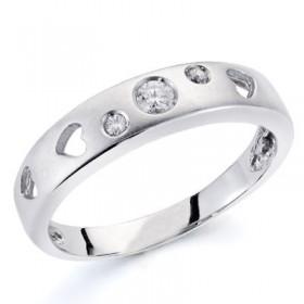 Anillo de oro blanco con 3 diamantes talla brillante