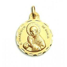 Medalla de San Francisco de Borja de oro de 18 quilates