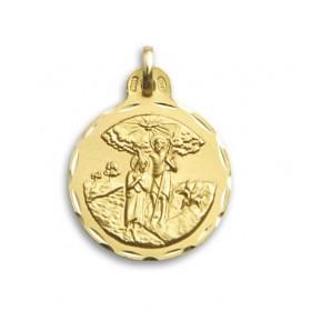 Medalla de San Juan Bautista de oro de 18 quilates