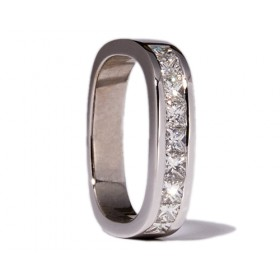 Square white gold wedding ring