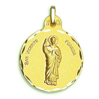 Medalla de San Vicente Ferrer de oro de 18 quilates