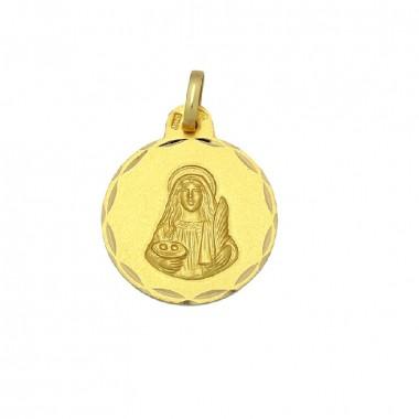 Medalla de Santa Lucía de oro de 18 quilates