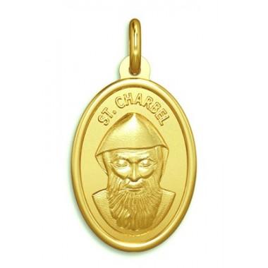 Medalla de San Chárbel de oro de 18 quilates