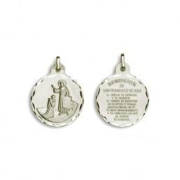 Medalla de la Bendición de San Francisco de oro plata de primera ley