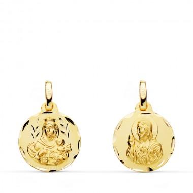Medalla escapulario de la Virgen del Carmen y el Sagrado Corazón de Jesús de oro de 18 quilates
