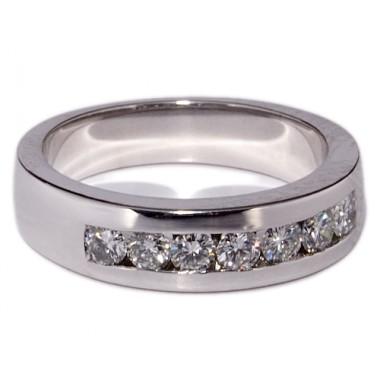 1/2 alianzas de oro blanco con 7 diamantes