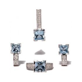 Anillos de oro blanco con topacio azul y 84 diamantes