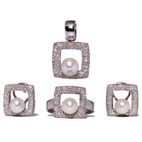 Anillos de oro blanco con perla esférica japonesa y 115 diamantes