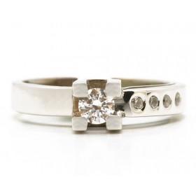 Anillos de oro blanco con 5 diamantes