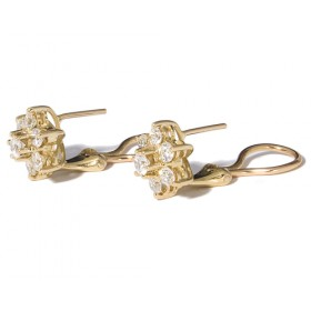 Yellow gold earrings with 14 diamonds