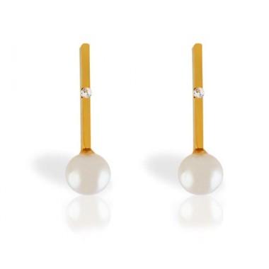 Pendientes de oro amarillo con diamantes y perlas