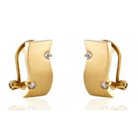 Yellow gold earrings with 4 diamonds