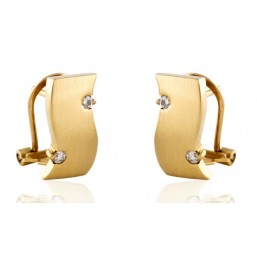 Yellow gold earrings with 4 diamonds