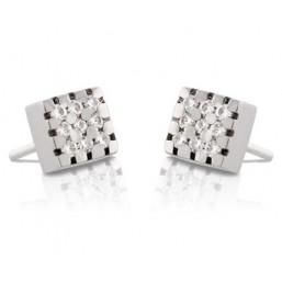Pendientes de oro blanco con 18 diamantes