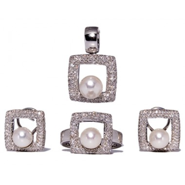 White gold and Japanese pearls jewelry set