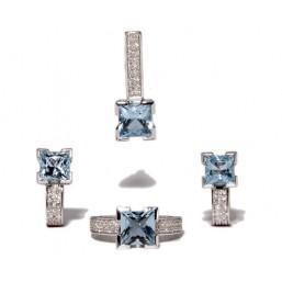 Colgante de oro blanco con topacio azul y diamantes