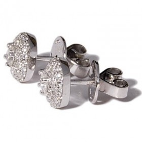 White gold earrings with a diamond on a bed of diamonds