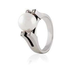 Anillos de oro blanco con perla y diamantes