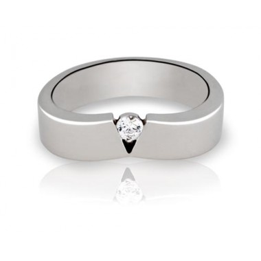 Anillos de oro blanco con 1 diamante
