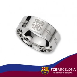 Anillo alianza escudo Barça en plata de primera ley
