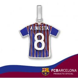 """Colgante camiseta A. Iniesta """"8"""" en plata de primera ley"""