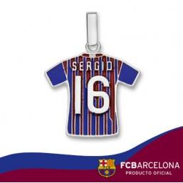 "Colgante camiseta Sergio ""16"" Barça en plata de primera ley"
