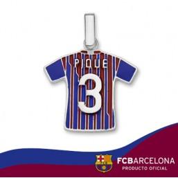 """Colgante camiseta Piqué """"3"""" en plata de primera ley"""