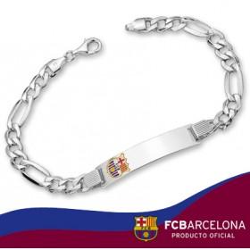 Pulsera placa escudo Barça en plata de primera ley