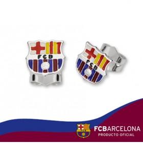 Pendientes escudo Barça en plata de primera ley