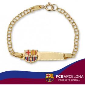 Pulsera bebé con escudo Barça en oro de primera ley