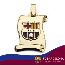 Colgante modelo placa  pergamino escudo Barça en oro de primera ley