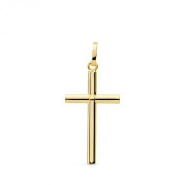 Cruz lisa sin Cristo de oro de 18 quilates