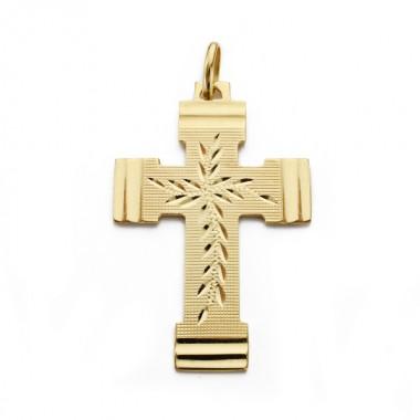 Cruz tallada sin Cristo de oro de 18 quilates