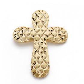 Cruz calada y tallada sin Cristo de oro de 18 quilates