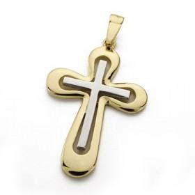 Cruz bicolor calada de oro de 18 quilates