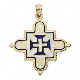 Cruz de Extremadura de oro de 18 quilates esmaltada a color
